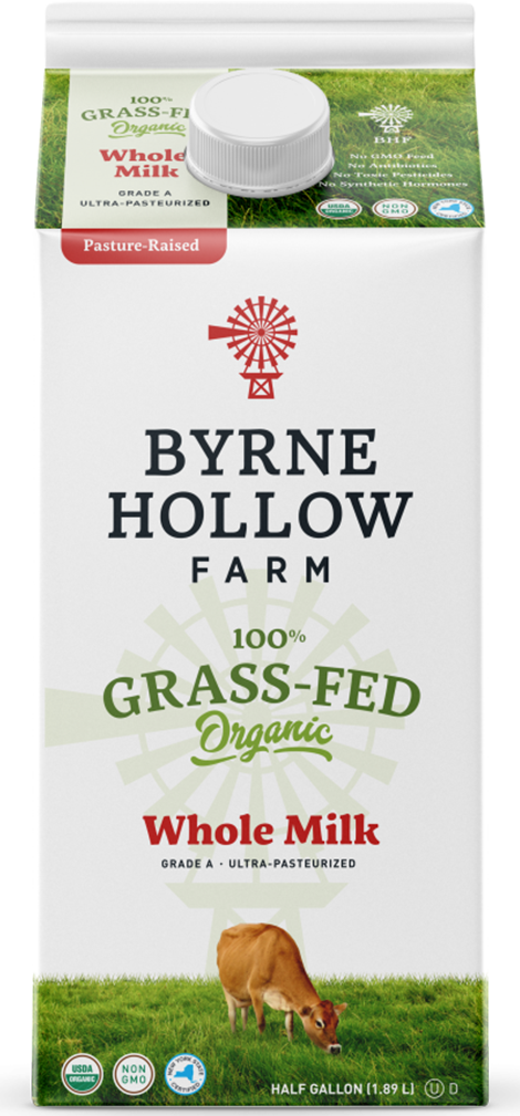 grass fed whole milk half gallon from byrne hollow farm organic grass fed milk line